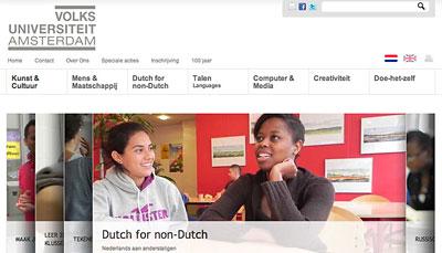 Website Design Volksuniversiteit Amsterdam